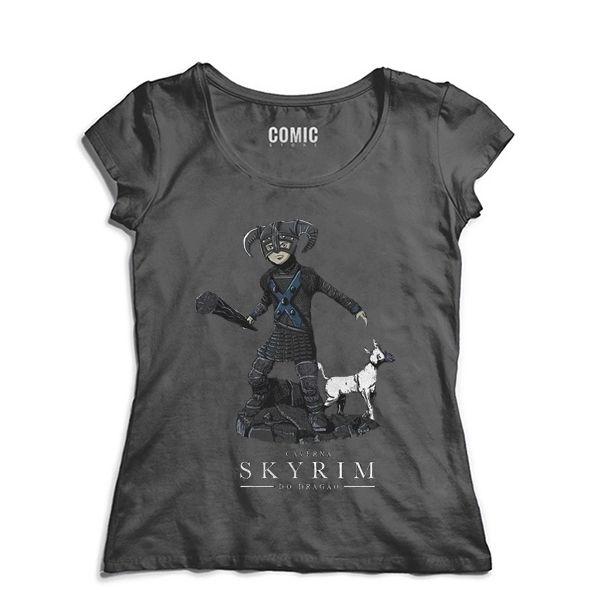 Camiseta Feminina Caverna do Dragao Skyrim - Nerd e Geek - Presentes Criativos