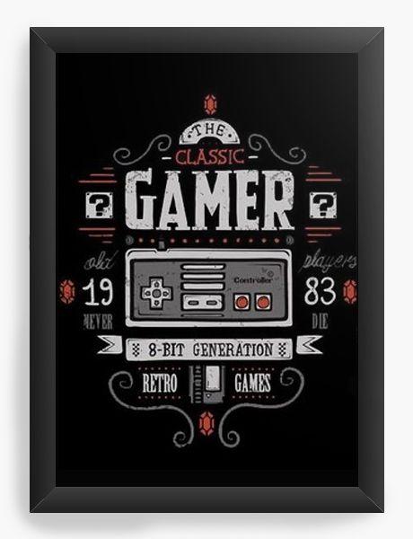 Quadro Decorativo A3 (45X33)  Gamer 16bit Super - Nerd e Geek - Presentes Criativos