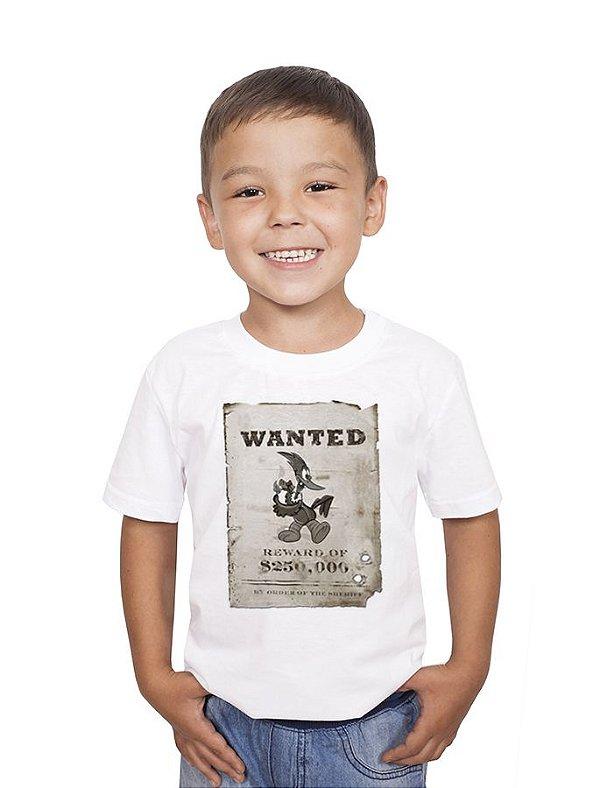 Camiseta Infantil Wanted  - Nerd e Geek - Presentes Criativos