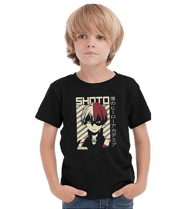 Camiseta Infantil Anime My Hero Academia Shoto Todoroki  - Nerd e Geek - Presentes Criativos