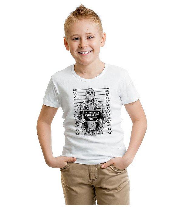 Camiseta Infantil Jason Police Dept 1980  - Nerd e Geek - Presentes Criativos