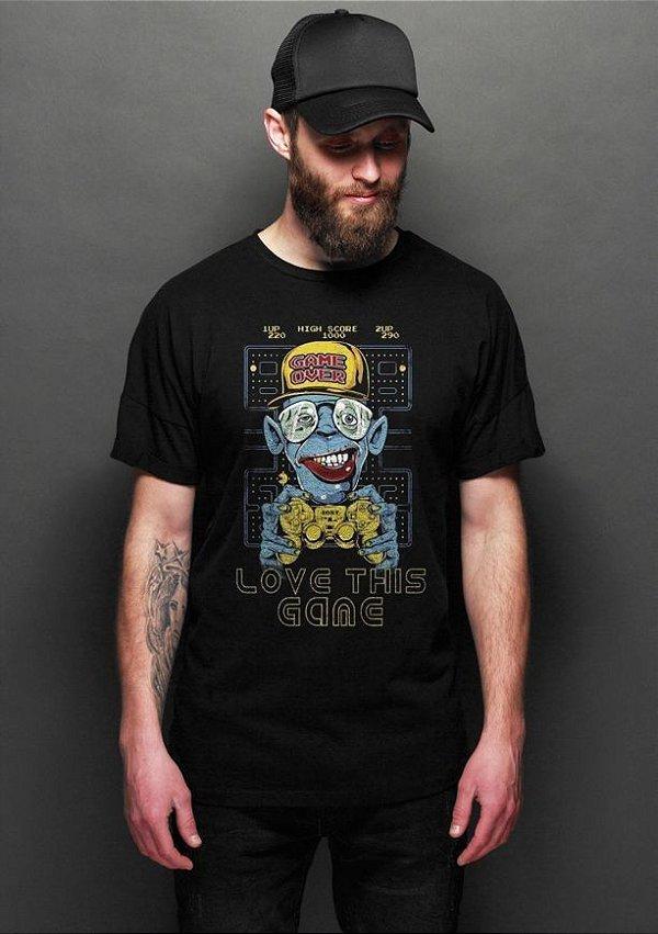 Camiseta Masculina  Pac Man Love This Game - Nerd e Geek - Presentes Criativos