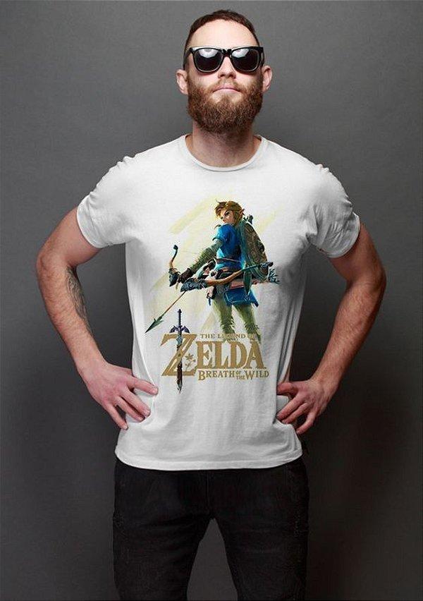 Camiseta Masculina  Legend of Zelda Breath of The Wild - Nerd e Geek - Presentes Criativos