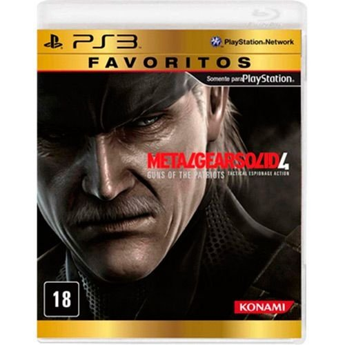 Metal Gear Solid 4: Favoritos - Ps3 - Nerd e Geek - Presentes Criativos