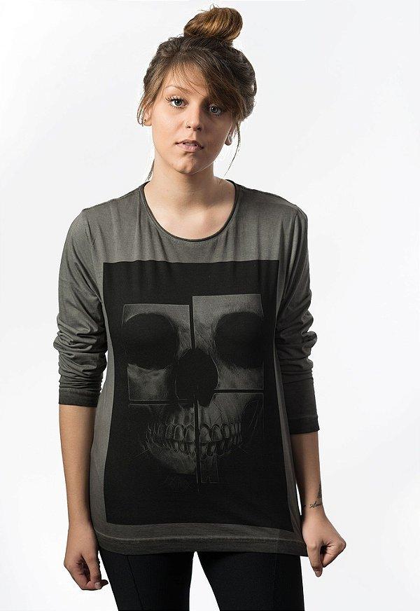 Camiseta Manga Longa Skull Mirror