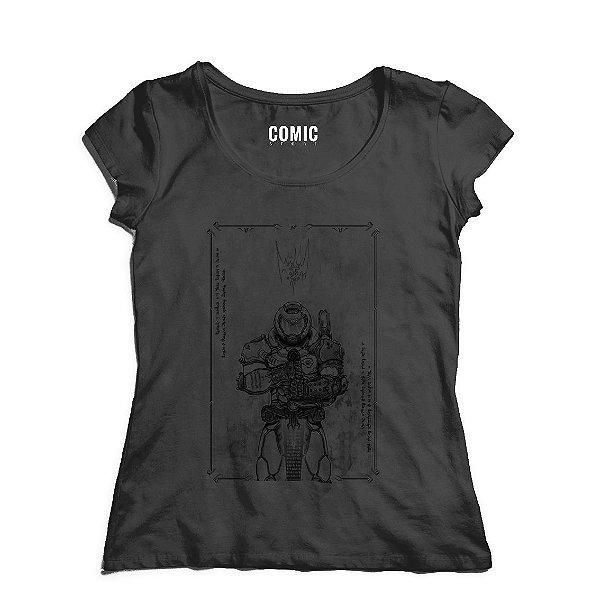 Camiseta Feminina Doom - Nerd e Geek - Presentes Criativos