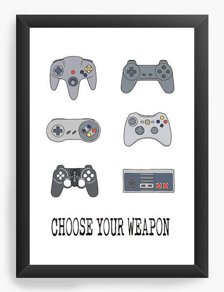 Quadro Decorativo A3 (45X33) Choose Your Weapon - Nerd e Geek - Presentes Criativos