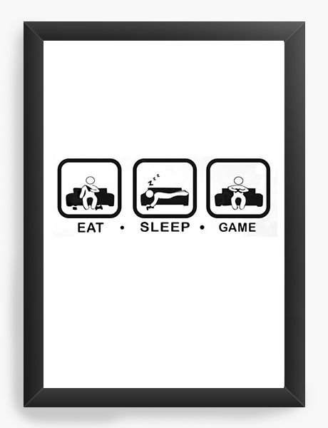 Quadro Decorativo A3 (45X33) Game Eat Sleep Nerd e Geek - Presentes Criativos