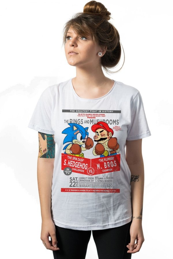 Camiseta Sonic Hedghog vs Mario Bros - Nerd e Geek - Presentes Criativos