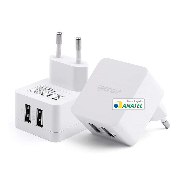 Carregador de Parede Bivolt (110-220V) USB 3.4A GEONAV