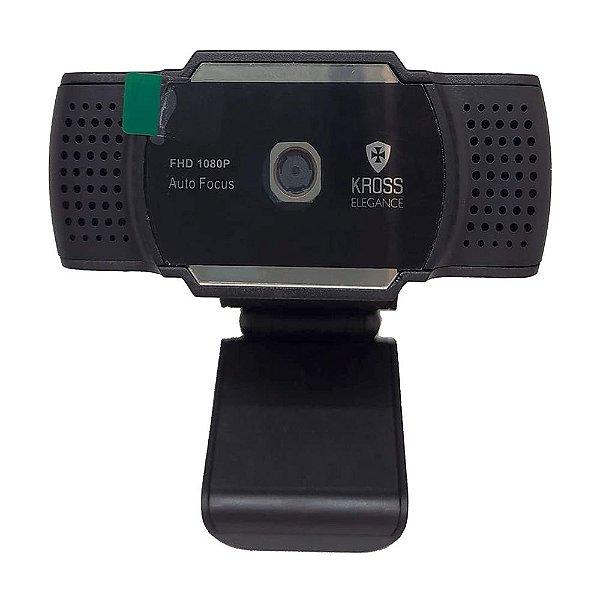 Webcam 1080P Foco Automático, Kross Elegance, Preto
