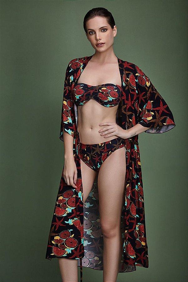 kimono viscose fenda lateral estampa clericot - VARIANTE UNICA