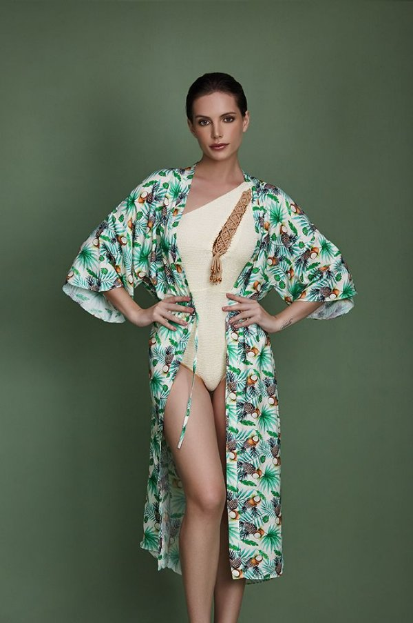 kimono linho fenda lateral estampa abacaxi - VARIANTE UNICA