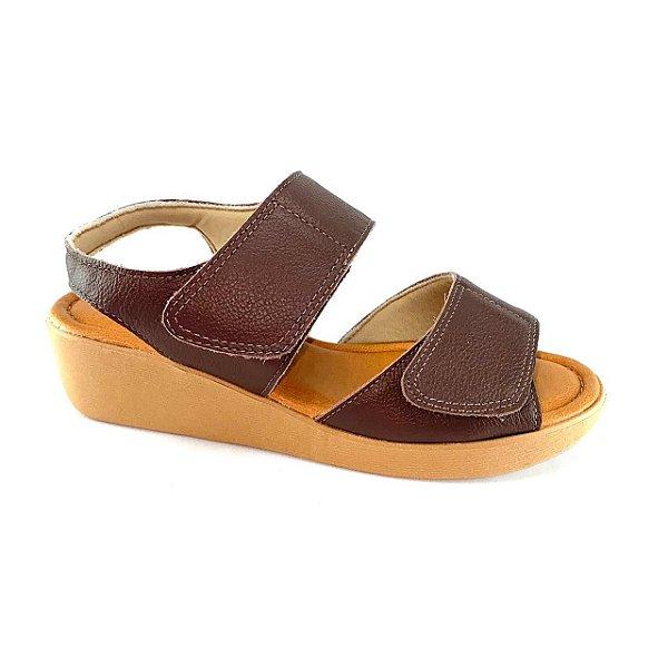 Sandalia Feminina Anabela Usaflex Couro Velcro Ad5202