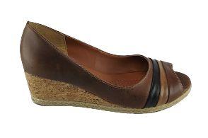 Sapato Anabela Bico Aberto Percurso 920 - Canela C/ Colorido