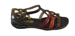 Sandalia Rasteira Percurso 7025 - Brown/colorido