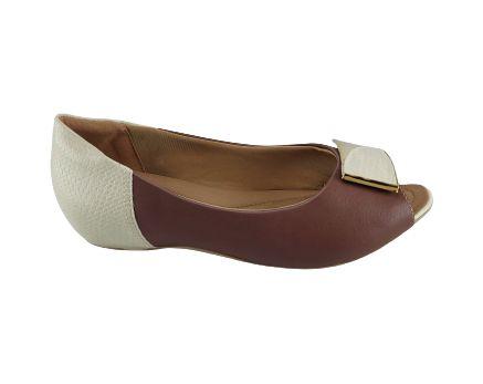 Sapatilha Peep Toe Bicolor Comfortflex 20-71305 - Malva