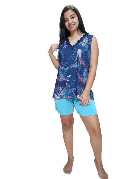 Pijama Julia Moraes 75167 Bermuda Blusa Manga Curta