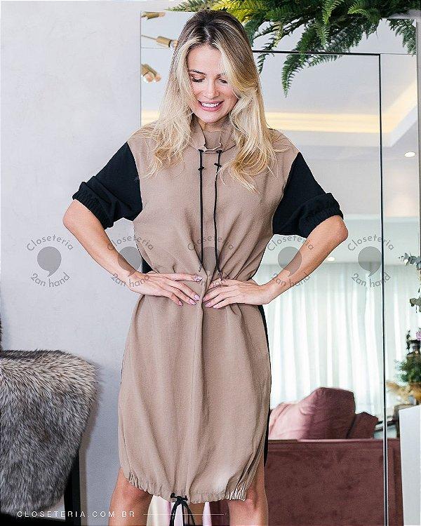 Vestido bicolor Marrom/Preto
