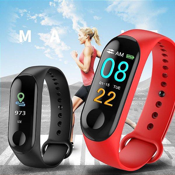 Compre 1 e Leve 2: Relógio Inteligente + 1 Pulseira + Cabo USB - Monitor Cardíaco - Conta Passos e Calorias - Frete Grátis