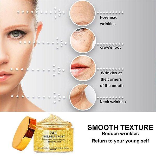 Creme Ouro 24k - 50g - Anti-rugas - Anti-envelhecimento - Anti-olheiras - Controla Oleosidade - Frete Grátis