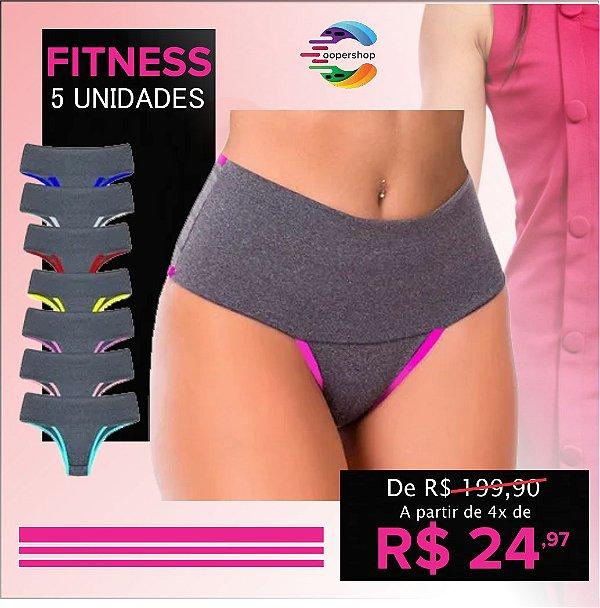 """Oferta Especial: Kit com 5 Calcinhas Compressão """"Series"""" - Segura Barriga - Até GG"""