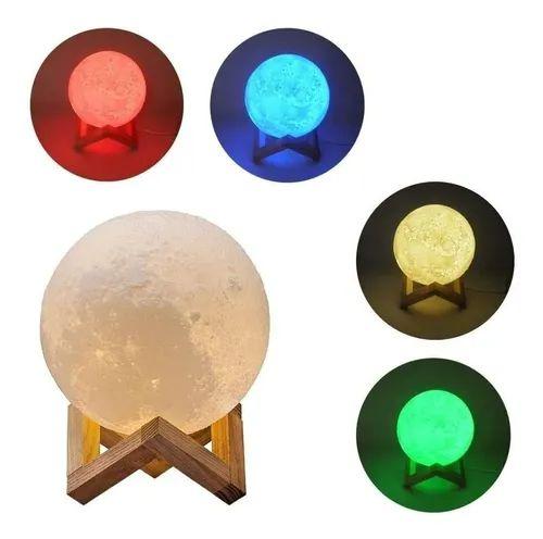 Box Olanella: - Luminária Lua Cheia 3D - 5 Cores Touch - USB + Suporte - Envio Imediato
