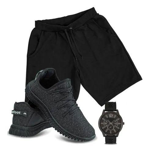 Box Olanella: - Kit com 1 par de Tênis Masculino Adaption + Bermuda + Relógio - Tamanho de 37 a 43