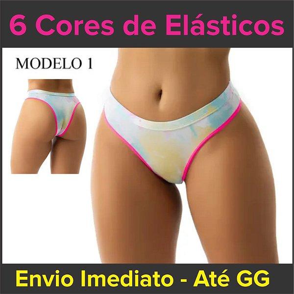 """Kit com 5 ou 10 Calcinhas """"Tie Dye"""" - Super Conforto - 2 Modelos - Tamanho até GG"""