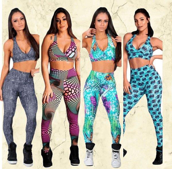 -Modaluna-: Kit com 4 Conjuntos Calça Legging + Top com Bojo - Moda Fitness
