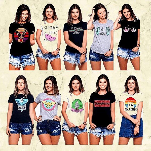 - Box Olanella-: Kit com 10 Blusas Baby Look 100% Algodão - 84 Estampas - 3 Cores - Até GG- Envio Imediato