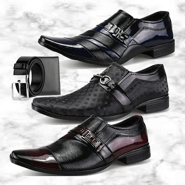 -Men Shoes-: Kit com 3 Pares de Sapatos Oxford Neway + Cinto + Carteira - 3 Modelos - Até 44