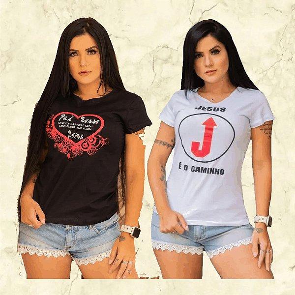 -Box Showpromodia-:  Kit com 10 Camisetas - Estampas Moda Evangélica - Cores Variadas - Até GG- Envio Imediato