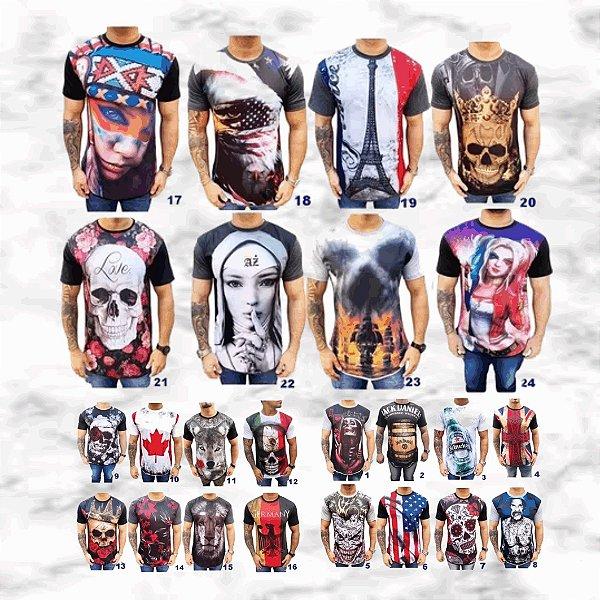 Kit com 10 Camisetas Masculinas em Algodão - 44 Estamapas - Tamanho Até GG - Envio Imediato