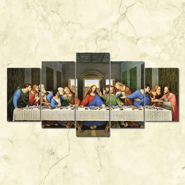 -Evangelys-: Quadro Decorativo Mosaico Santa Ceia - Medidas: 1,20x60cm