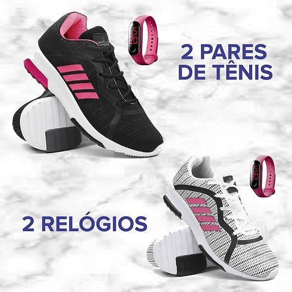 Kit com 2 Pares de Tênis Femininos  + 2 Relógios -  Academia/Caminhada -Tamanho: 34 a 39