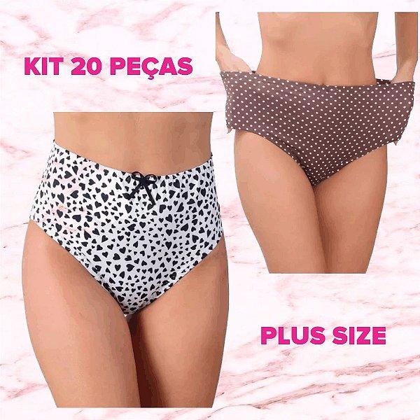 """-MaxPlus-: Kit com 20 Calcinhas """"Yentl"""" Plus Size - Cintura Alta - Cós Alto - Tamanho até 54"""