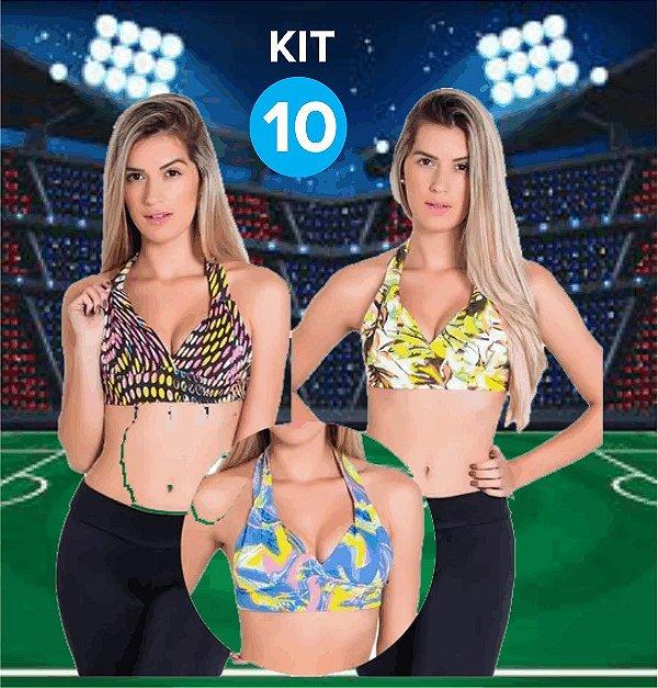 Kit com 10 Tops com Bojo - Frente Única - Tamanho: M/G