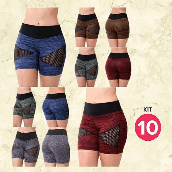 Kit com 10 Bermudas Fitness - Cores Variadas - Tamanho até GG