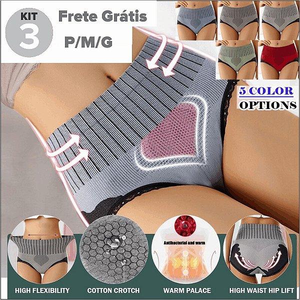 """Kit com 3 Calcinhas  """"Heart"""" Modeladora - Cintura Alta - Compressão - P/M/G - Frete Grátis"""