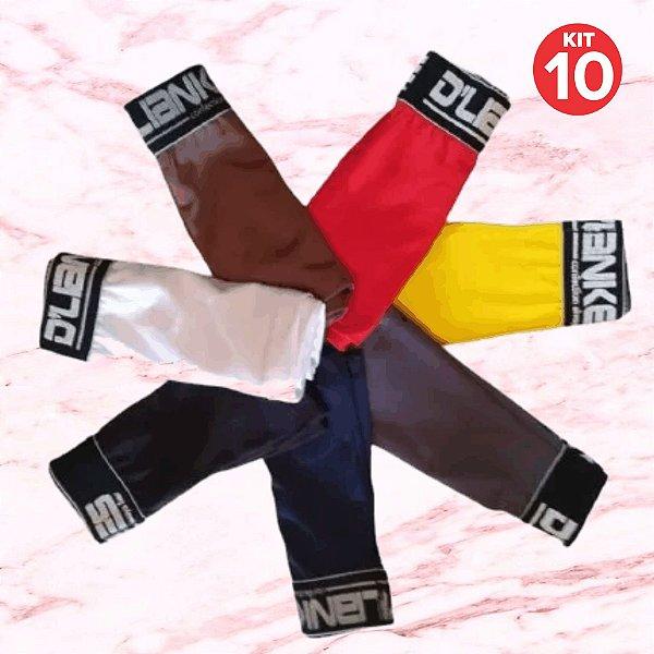 Kit com 10 Cuecas Infantil Boxer - Lisas - Tamanho: de 1 a 6 anos