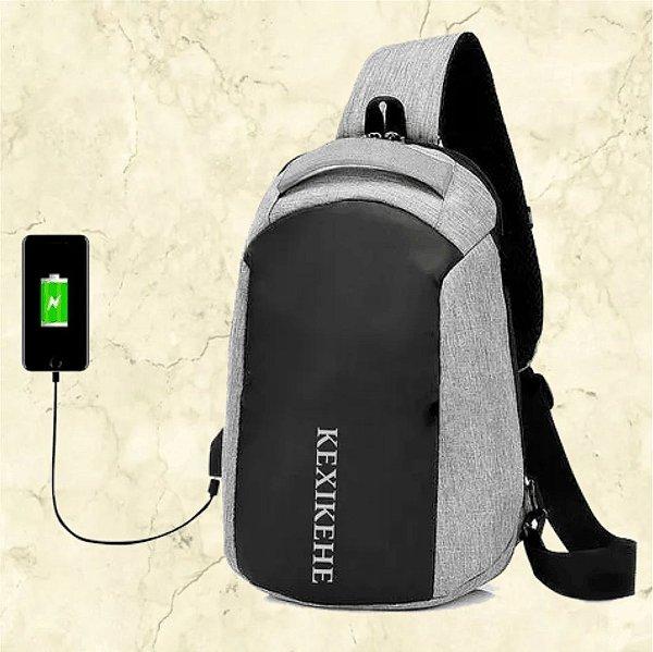 -Box Sucesso Shop -Mochila Unissex com Alça Transversal - Saída para USB e Fone de Ouvido - Tam. 33x22.10