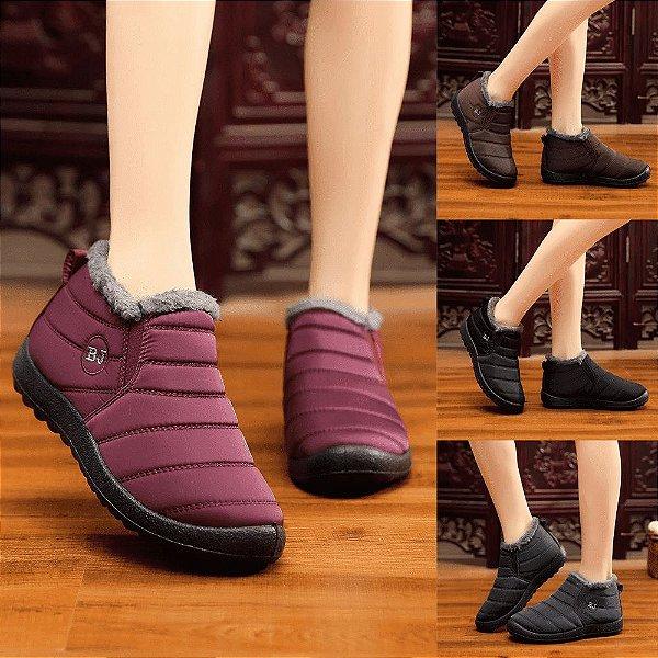 Sapato BJ Forrado em Pele - Antiderrapante - Impermeável - Linha Conforto - 4 Cores - Até 39 - Frete Grátis