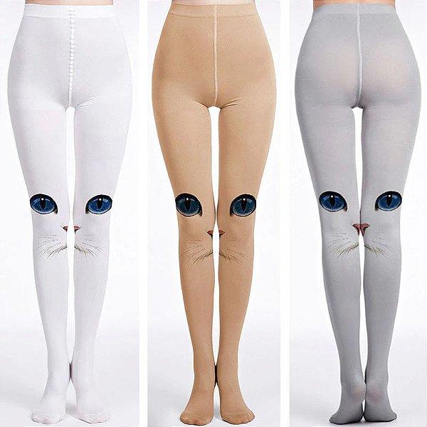 Cat Girl:Kit Confort com  e Meias/Leggings - 3 Cores - Tam. Único (Ideal para altura de 1,58 a 1.75) - Frete Grátis