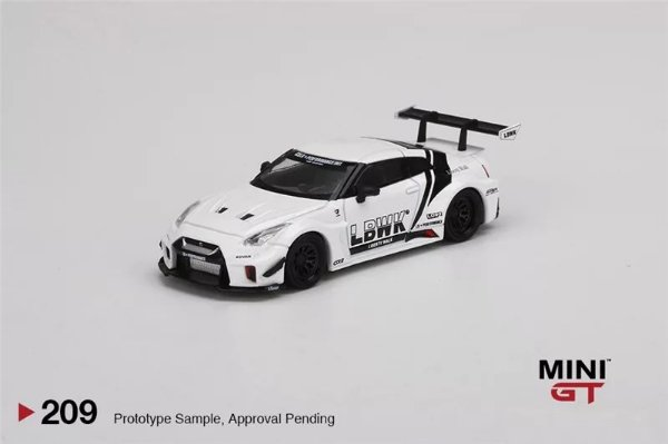 Nissan GTR Liberty walk branco - 1:64 - Mini GT