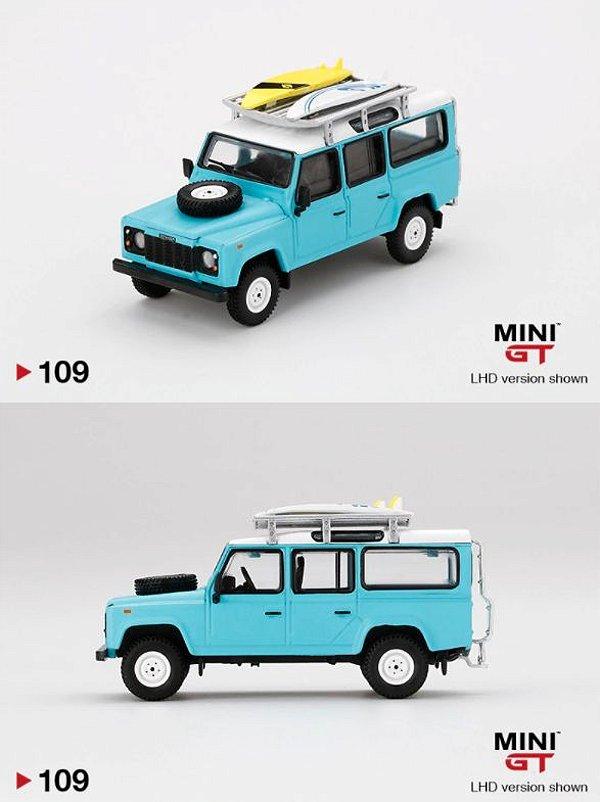 Land Rover Defender 110 azul - 1:64 - Mini GT