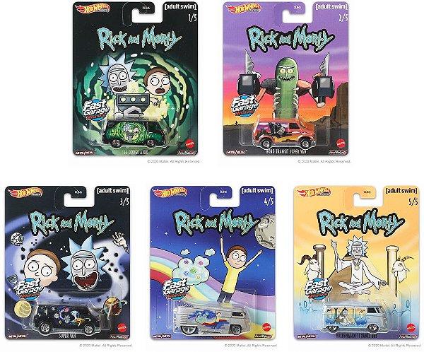 Set Pop Culture Rick and Morty 5 carros - 1/64 - Hotwheels