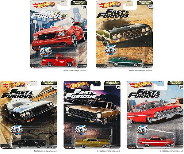 Set Velozes e Furiosos Motor City Muscle 5 carros - 1/64 - Hotwheels