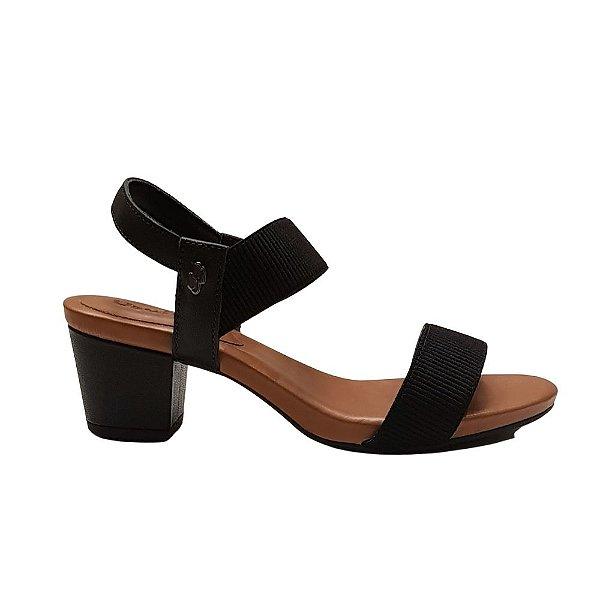 Sandália Salto Médio, Confort Elast - Usaflex