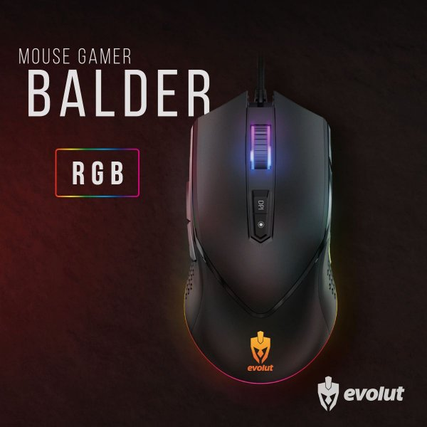 Mouse Gamer Evolut BALDER Usb Led RGB 7000 DPI 7 Botões EG-107